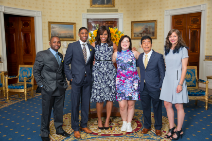 Blavin Scholar Rochelle with First Lady, Michelle Obama and student panelists